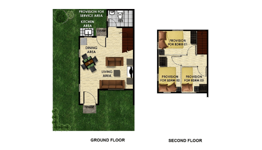 vista land international lumina armina duplex model house unit floor plan for ground floor and second floor image