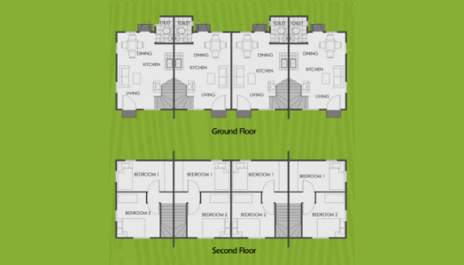 vista land international camella mikaela model house unit floor plan for ground floor and second floor image