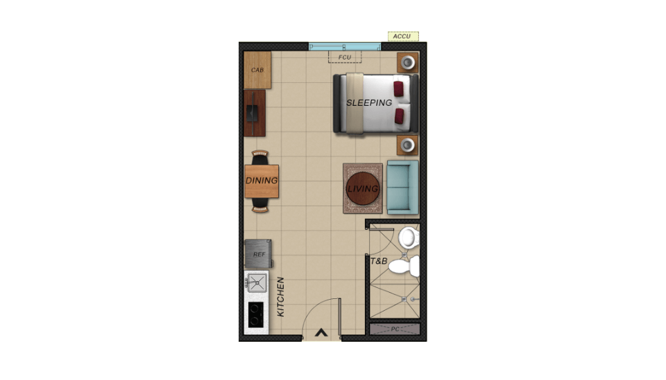 vistaland brittany luxury studio unit floor plan image