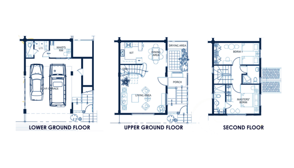 vista land international brittany quadrille with attic model house floor plan of lower ground floor, upper ground floor and second floor image