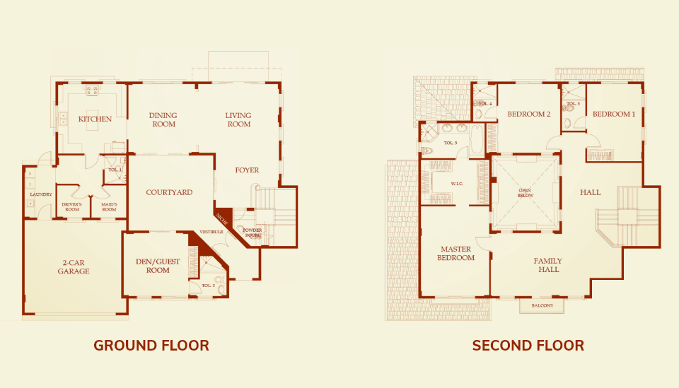 vista land international brittany lawrence model house floor plan of the ground floor and second floor image