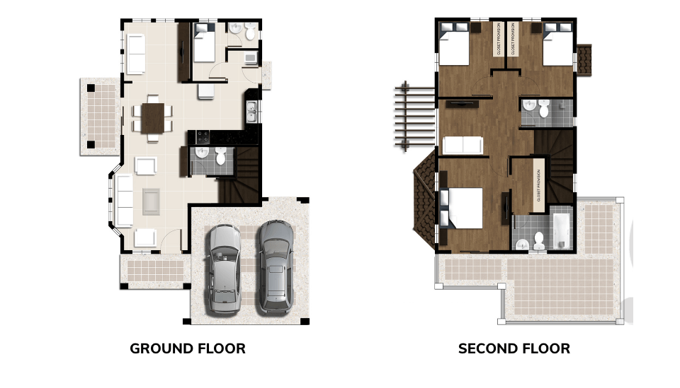 vista land international crown asia beryl house model floor plan for its ground floor and second floor image
